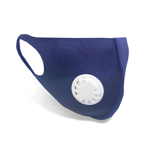 Reusable Face Mask With Valve - Blue